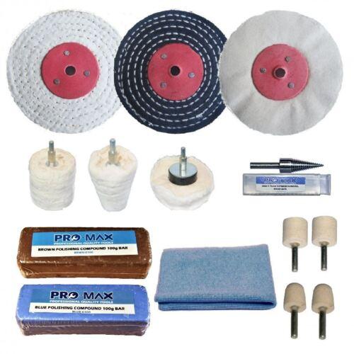 "Pro-Max 14pc Alloy Wheel Professional Polishing Buffing Kit 4/"" x 1/"""