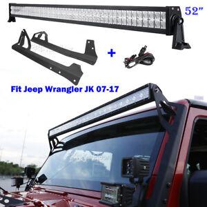 52-034-700W-CREE-LED-Work-Light-Bar-amp-Mount-Bracket-For-Jeep-Wrangler-JK-2007-2017