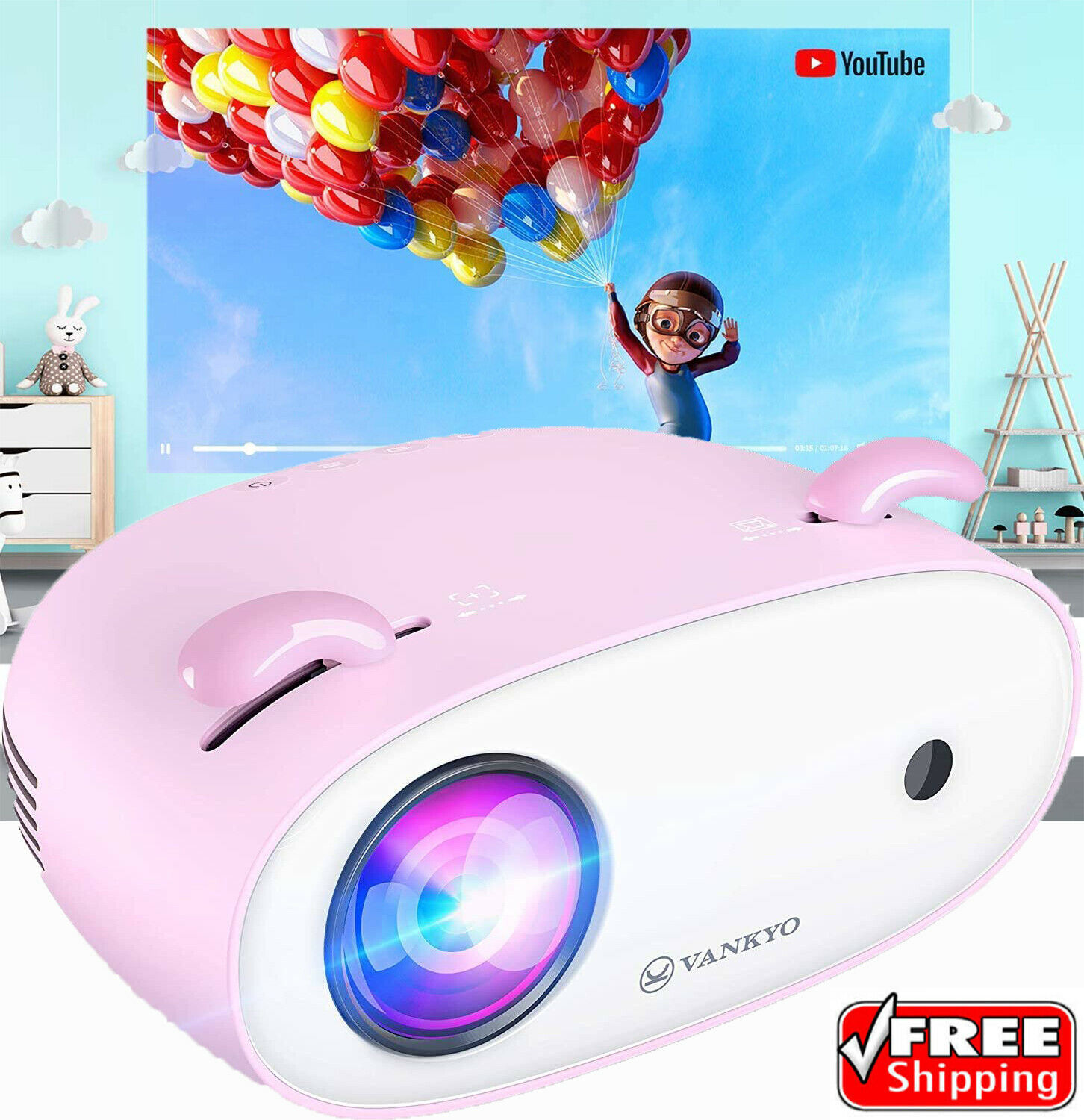 VANKYO Miracle 120 HD Projector Compatible with TV Stick, Sm