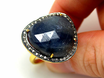 Lujoso Anillo Gema Zafiro Azul Y Diamantes. Plata 1ª Ley 925. Vermeil. Nuevo.
