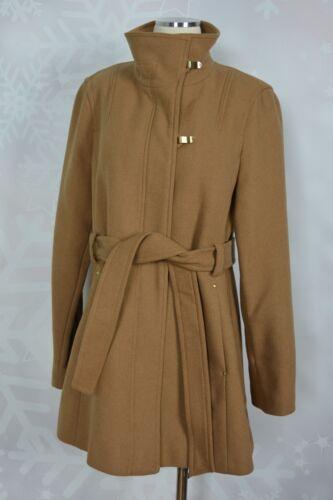 en et avec à mélangée cheminée garniture 729391743852 laine Manteau dorée Tracy Ellen ceinture col Nwot 0FxvEE