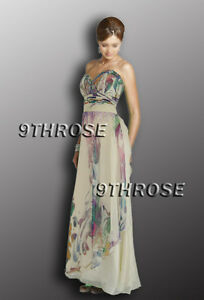 SWEET HEART NECK FLORAL PRINTS IVORY BEADED FORMAL/EVENING<wbr/>/PROM DRESS AU20/US18