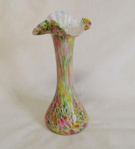 Vintage-Hand-Blown-Italian-Murano-Multi-Colored-Confetti-Swirl-Art-Glass-Vase