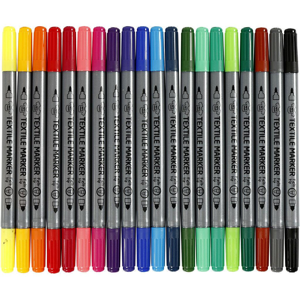 20 Textilmalstifte Textilstifte Textilmarker Marker mit dünner u. dicker Spitze
