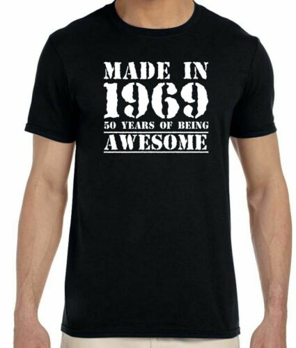 Men/'s 50th Birthday T-Shirt Made in 1969 Awesome 50 Years of Being