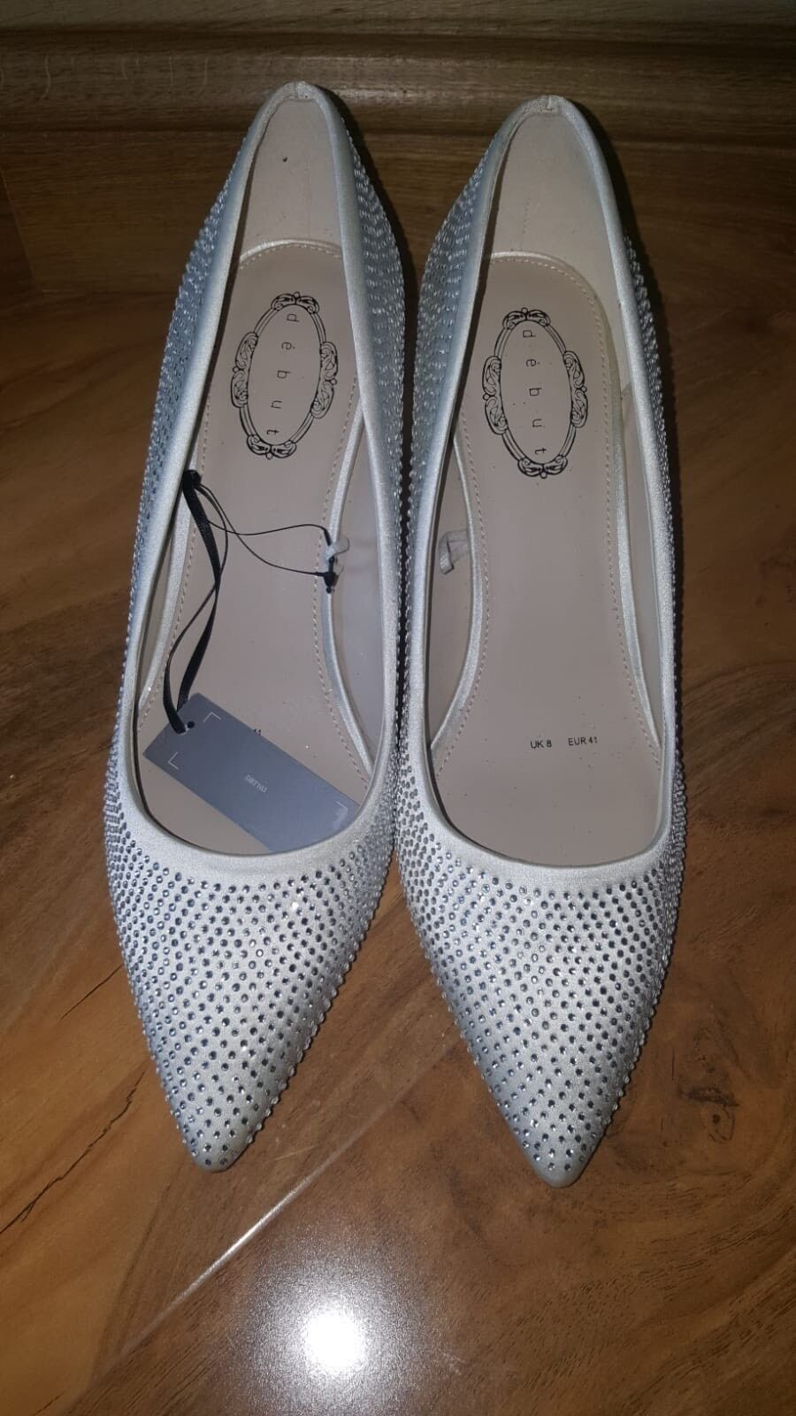 Debut Debenhams Ivory Silver Diamante Point Heels Shoes Wedding Party Size 8
