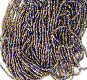 Vintage Sky Blue 12//0 Seed Beads Transparent Round Glass Long Strands Full Hank