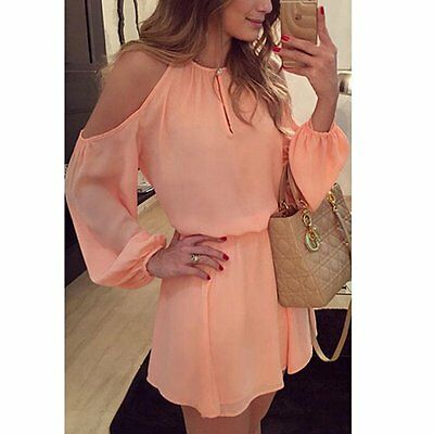 NEW Women Long Sleeve Casual Chiffon  Evening Cocktail Party Beach Mini Dress
