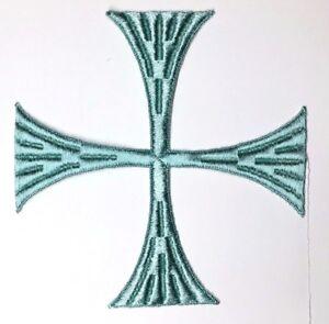 Vintage-Quadrato-Croce-6-034-Ricamato-da-Cucire-L-Verde-e-Maltese-Stemma-Toppa-2