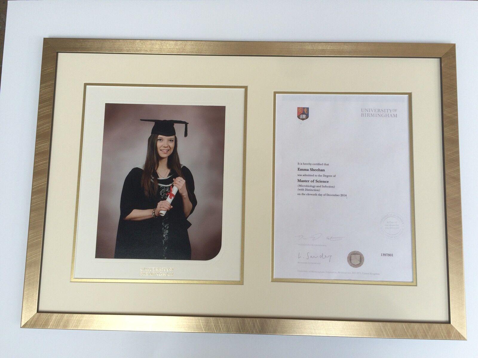 Foto de graduación de oro de 23mm y marco o de certificado con montaje simple o marco doble f0a627