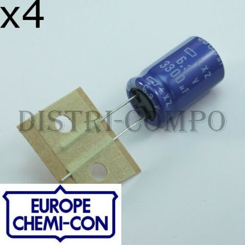 pack of 4 Capacitor 3300µf 6v3 105 ° 20x12.5mm rm5 chemi-con lxz low-esr