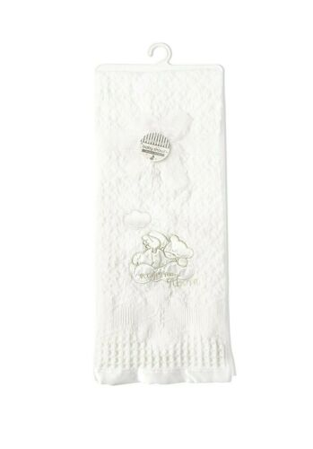 Wrap Satin Trim Baby Shawl Blanket 91 x 127cm White