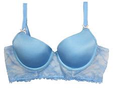 Heidi Klum Long Line Smooth French Lace Bra in Vista Blue/Silver Peony, 34C
