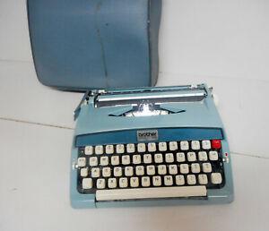 Vintage RARE Manual Typewriter Brother Opus 888 Made in Japan Blue W/Case