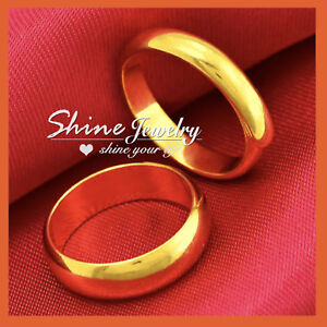 99ac18b86 9K PLAIN YELLOW GOLD FILLED 4MM MEN WOMEN WEDDING ANNIVERSARY ...