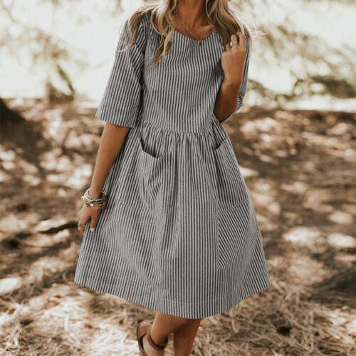 Damen Sommer Mode Lose Rundhals Baumwolle Leinen 3//4 Arm Shirt Bluse Hemd Kleid