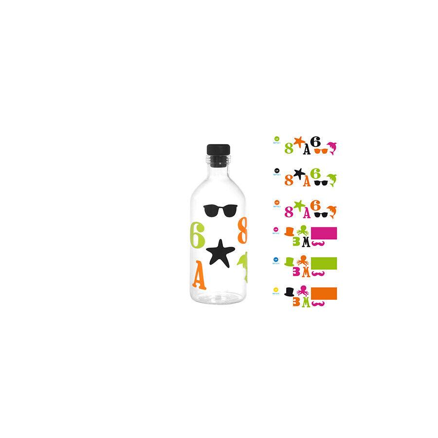 H&H Set 6 Bottiglie Borsilicato Tappo In Silicone litri0.70