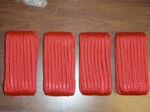 """DOUBLE BRAID DOCK LINE  3//8/"""" X 20FT  50-39731 RED 4 PAC 15/"""" EYE SPLICE BOAT ROPE"""