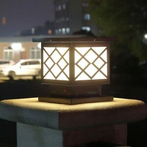 newest 01894 c0a4f Details about Modern Black Metal Square Box White Acrylic LED Solar Powered  Gate Pillar Lights