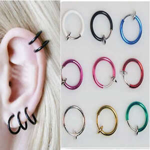 Fake-Clip-On-Nose-Ring-Non-Piercing-Spring-Loaded-Various-Colours