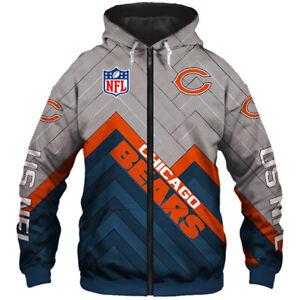 Chicago Bears Men's Hoodie Full Zip Hooded Sweatshirt Casual Jacket Coat gifts