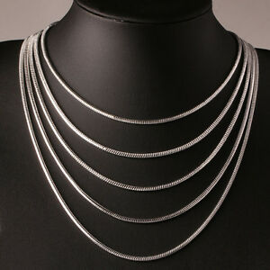 New 3mm silver sterling 925 snake chain necklace length 16 18 20 image is loading new 3mm silver sterling 925 snake chain necklace aloadofball Gallery