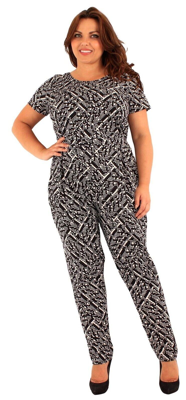 Womens Plus Size Harrem Pants Monochrome Print Cap Sleeve Jumpsuit Dress 18-24