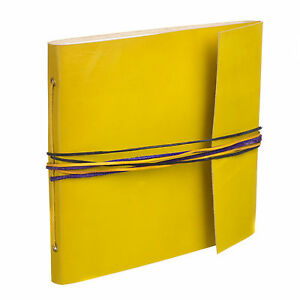 Fair Trade Handmade 3 String Yellow Leather Photo Album Scrapbook 2nd Quality