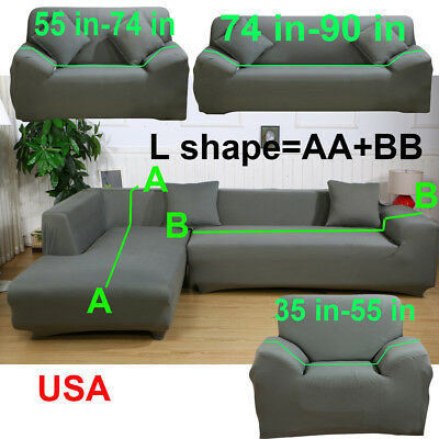 L Shape 1 2 3 4 Seater Stretch Cover Couch Slipcover for Sectional Corner  Sofa | eBay