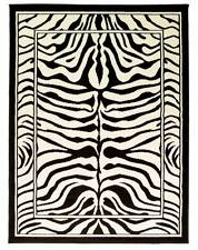 LARGE WILDLIFE ZEBRA BLACK & CREAM ANIMAL PRINT WILTON RUG 160X220CM