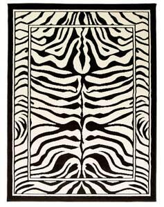 LARGE WILDLIFE ZEBRA BLACK & CREAM ANIMAL PRINT WILTON RUG ...
