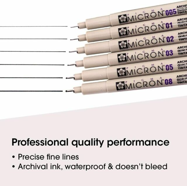 Ass/'t Point Sizes #99 Black Sakura Pigma 30062 Micron Blister Card Ink Pen Set