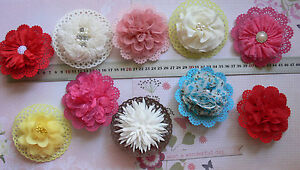 DOILY-HairClip-amp-DressPin-Flower-10cm-Fabric-10-Types-Njoyfull-Crafts-Multi-List