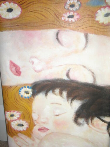 Gustav Klimt Mother and Child Oil Painting 20x8in NOT a print or poster FRAMED