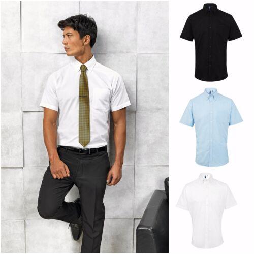 Mens Short Sleeve Oxford Shirt Business Work Smart Formal Casual Dress Shirt