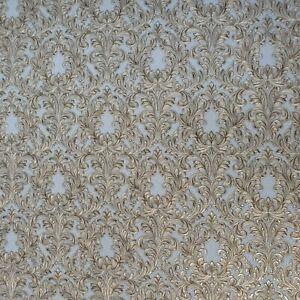 Embossed-Wallpaper-Victorian-Vintage-damask-gray-gold-brass-metallic-Textured-3D