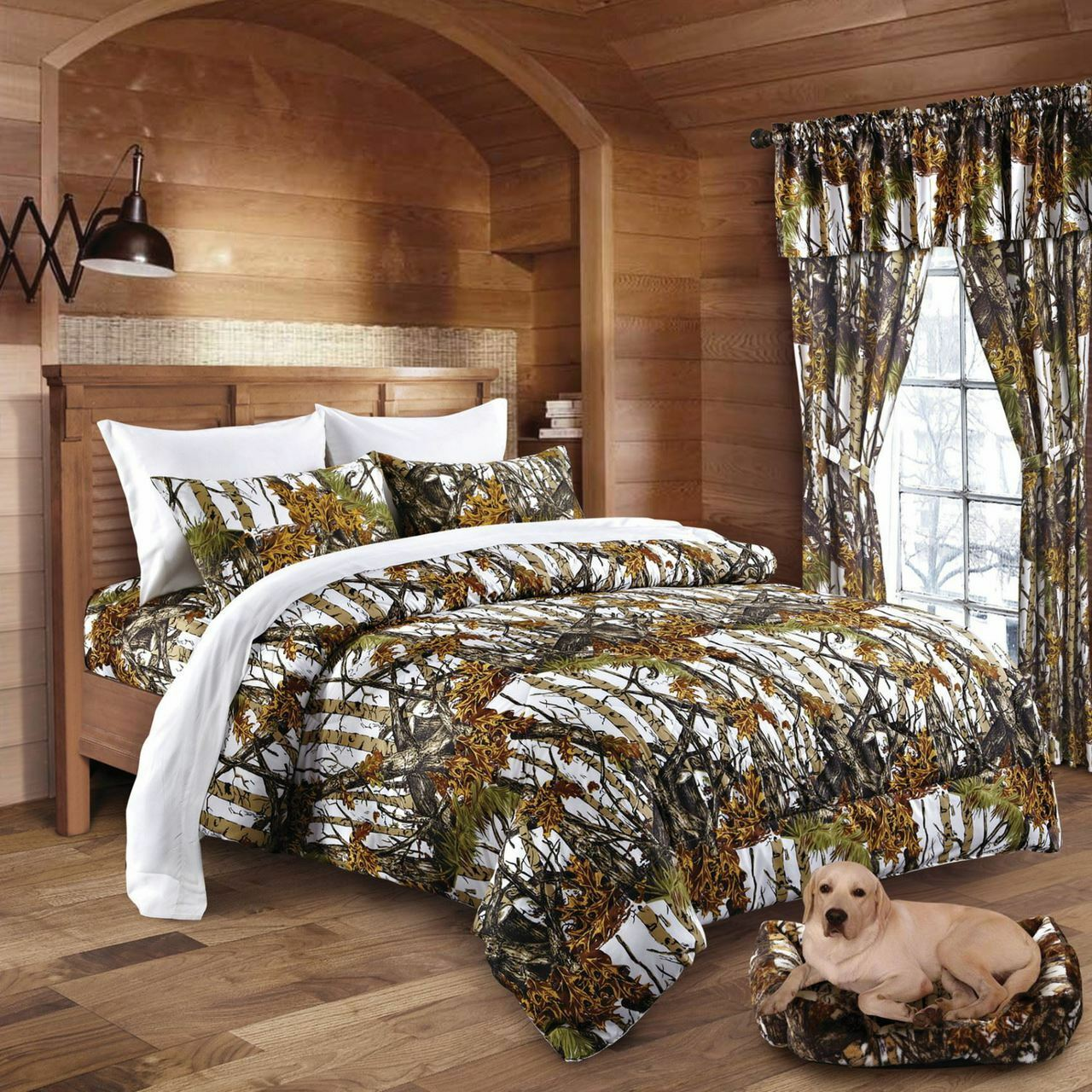 22 pc Mixed set Weiß Snow Camo Queen sheets, King Comforter and three curtains