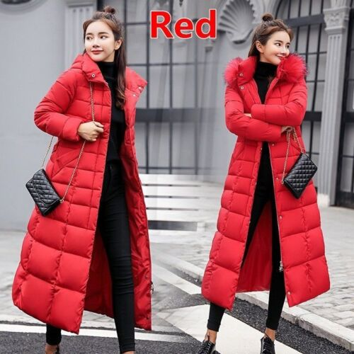 Womens Quilted Hooded Down Long Warm Jacket Puffer Fur Collar Winter Parka Coats