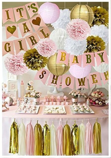 Baby Shower Decorations For Girl Pink And Gold Banner Its A Girl 70 Pcs Paper For Sale Online