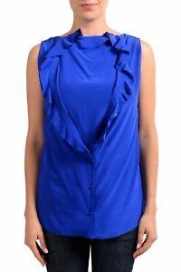 Maison-Margiela-1-100-Silk-Blue-Sleeveless-Women-039-s-Blouse-Top-US-S-IT-40