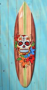 Totenkopf Surfboard 100cm im Mexiko Stil Dia Del Muerte Surfbrett