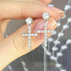 1-40-TCW-Diamond-Cross-Drop-Dangle-Earrings-14Carat-White-Gold-Over-Screw-Back