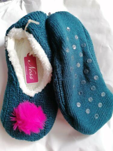Bnwt Cosy Designer Ness Teal Câble Pantoufles Taille S//M UK 3-4 RRP £ 12.99 cadeau de Noël