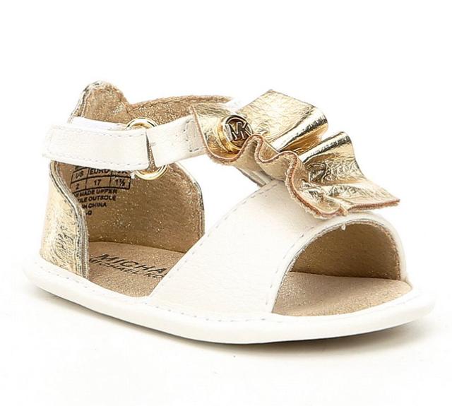 1d90c2816d45 New Michael Kors Girls Baby Clue Ruffle Crib Shoe Sandal Gold White Ruffle  SZ1