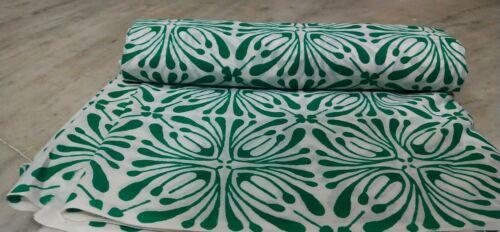 Bloque de Mano India blanco y verde tela floral de 3 yarda 100/% Algodón Tela Floral