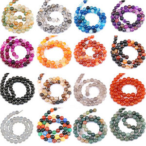1Bunch-Agate-Round-Gemstone-Loose-Spacer-Beads-Stone-Jewelry-4-6-8-10-12mm-Craft