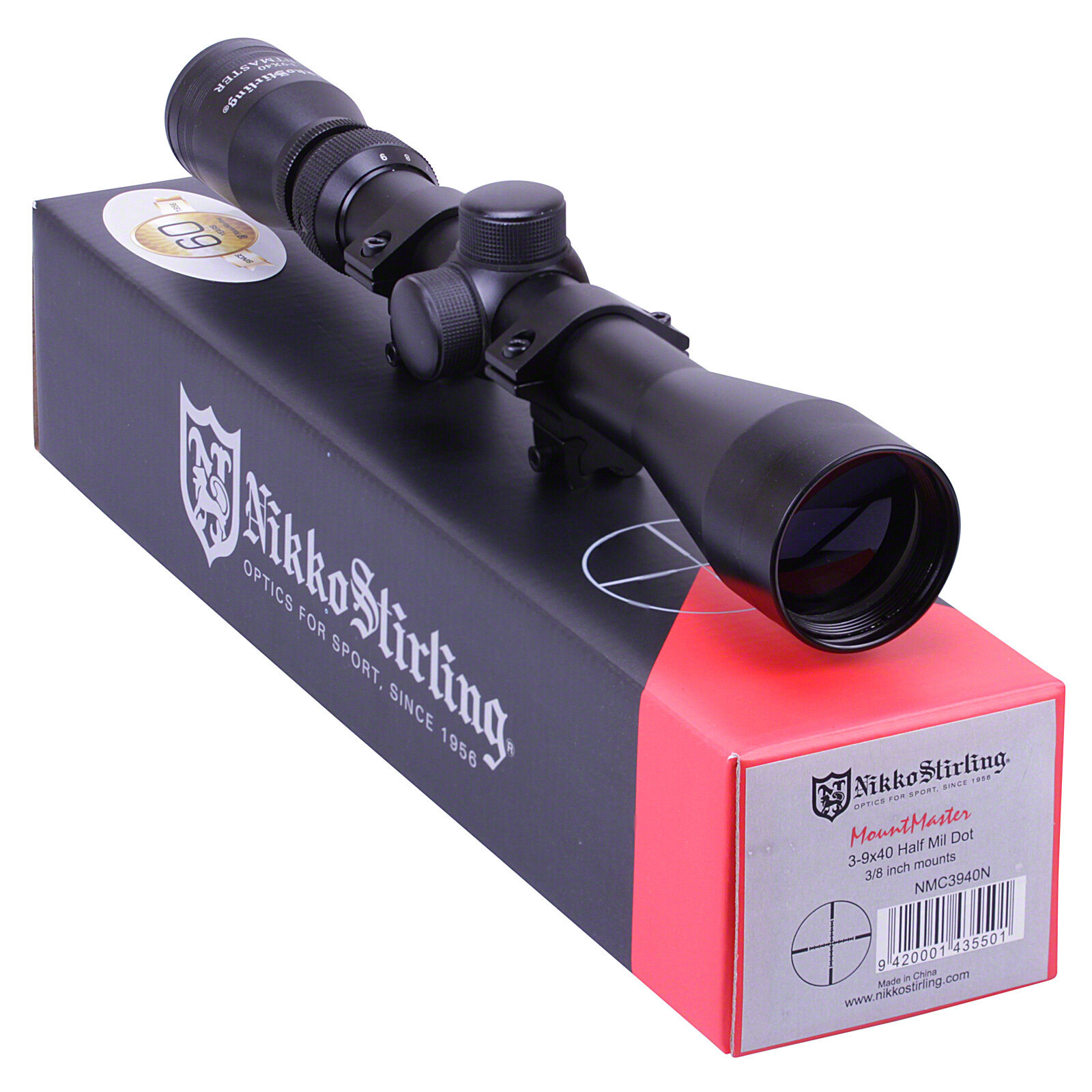 Nikko MOUNTMASTER 3-9x40 Half Mil Dot Zoom Rifle Scope 11mm Mounts Sight Hunting