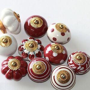 Moebelknopf-Moebelgriff-Moebelknoepfe-Keramik-Moebelknaeufe-Knaeufe-Bordeaux-Rot-Weiss