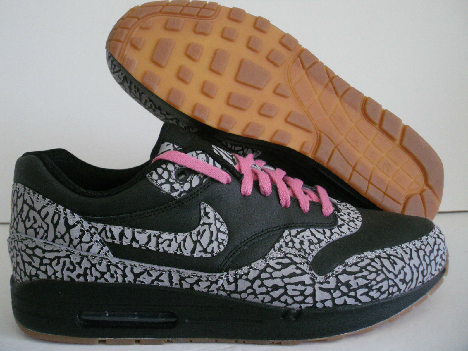 NIKE AIR MAX 1 iD BLACK-CEMENT GREY-PINK SUPREME ELEPHANT SZ 13 [628312-991]