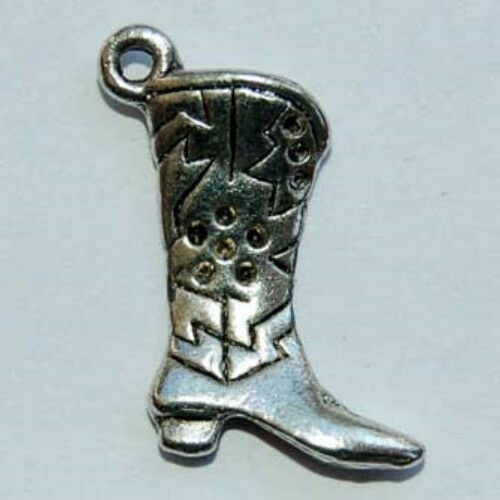 Silver colour metal alloy charms FA28 2 x Cowboy Boots 20mm x 15mm